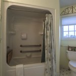 Shower and toilet in room 5 at the Feathered Star B&B