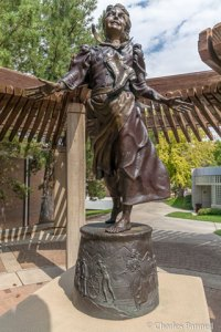 Sculpture of Ellen Pucell Unthnak by Jerry Anderson on the SUU campus sculpture stroll