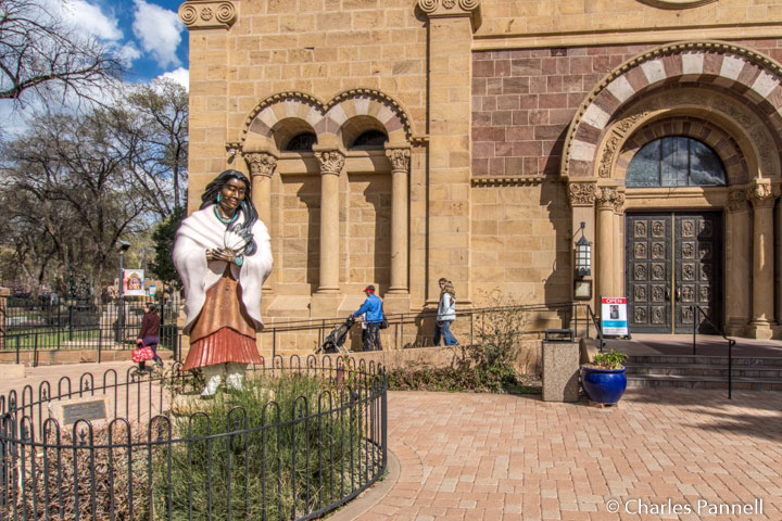 Statue honoring Blessed Kateri Tekakwitha at Cathedral Basilica of St. Francis of Assisi in Santa Fe, New Mexico