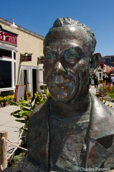 A bust of John Steinbeck marks the entrance to Steinbeck Plaza