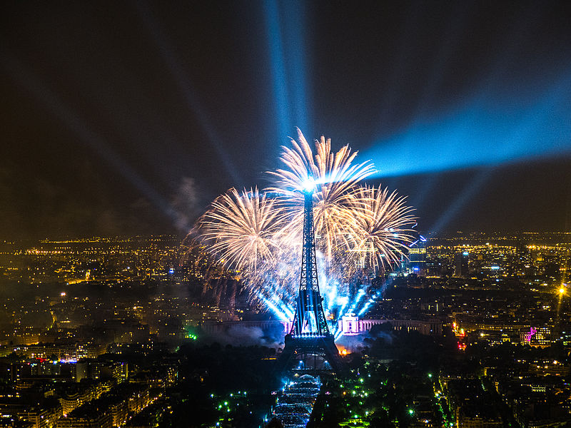 The Eiffel Tower with fireworks on Bastille Day