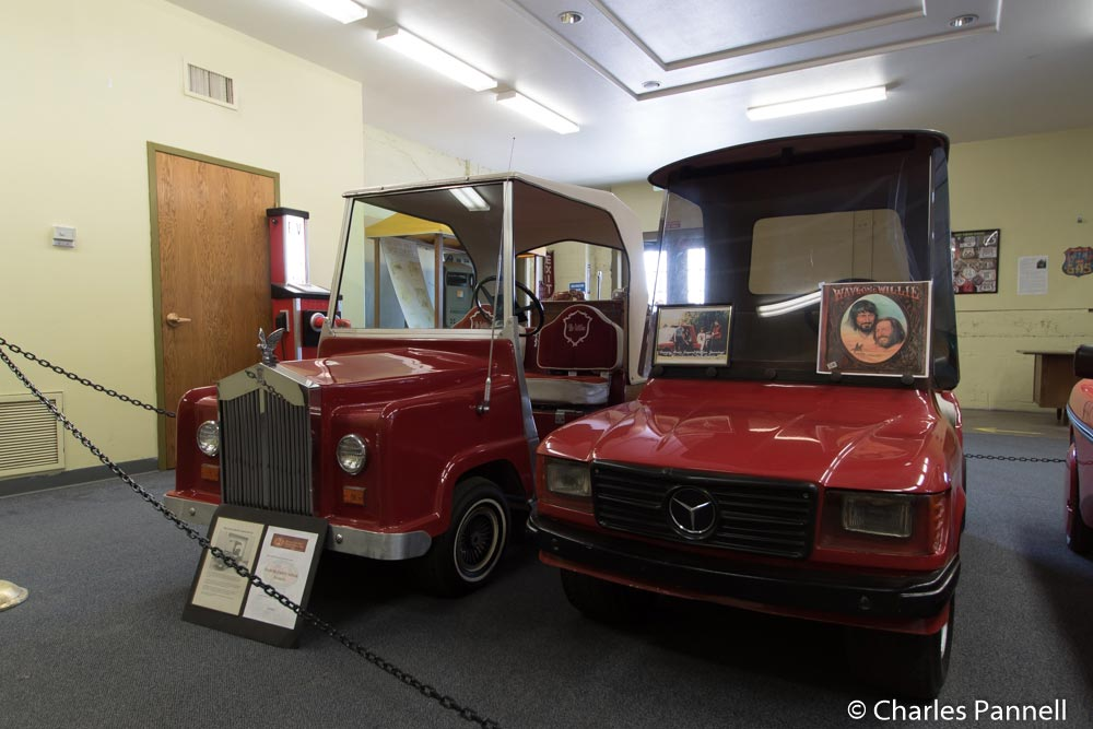 Willie Nelson's and Waylan Jenning's golf carts at the Route 66 Electric Vehicle Museum on Route 66 in Kingman, Arizona