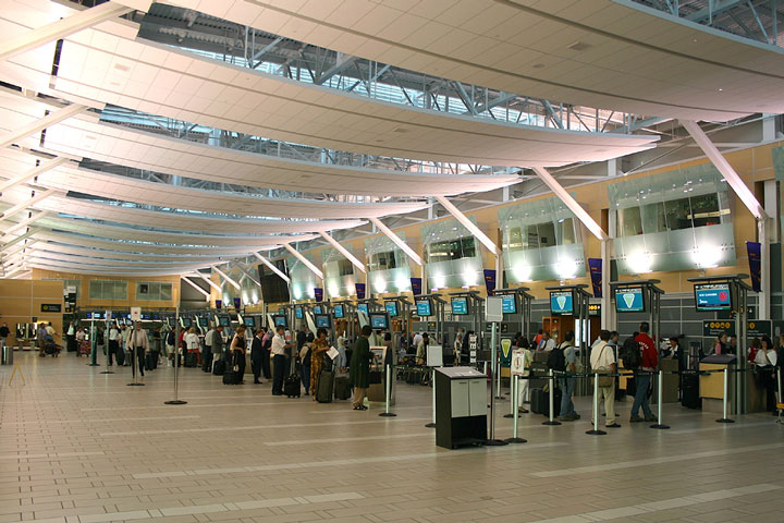 check-in at a typical air terminal