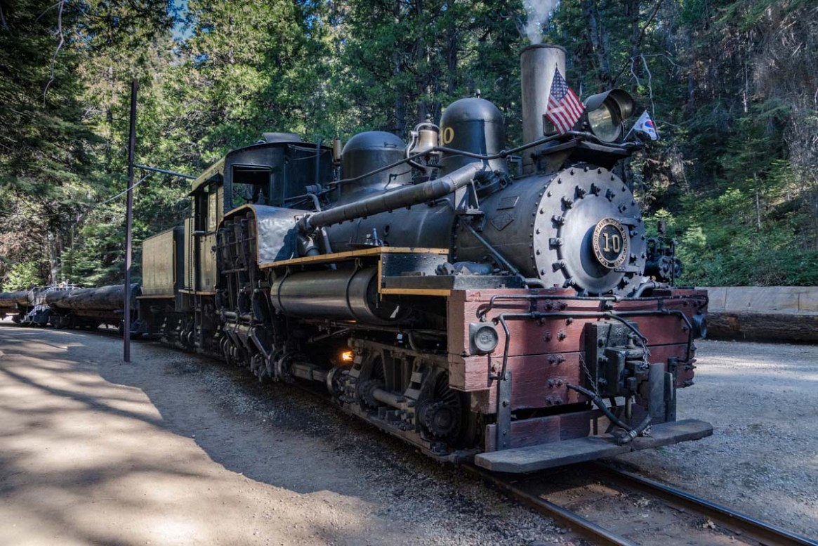 Steam Engine number 10 on the Yosemite Sugar Pine Railroad