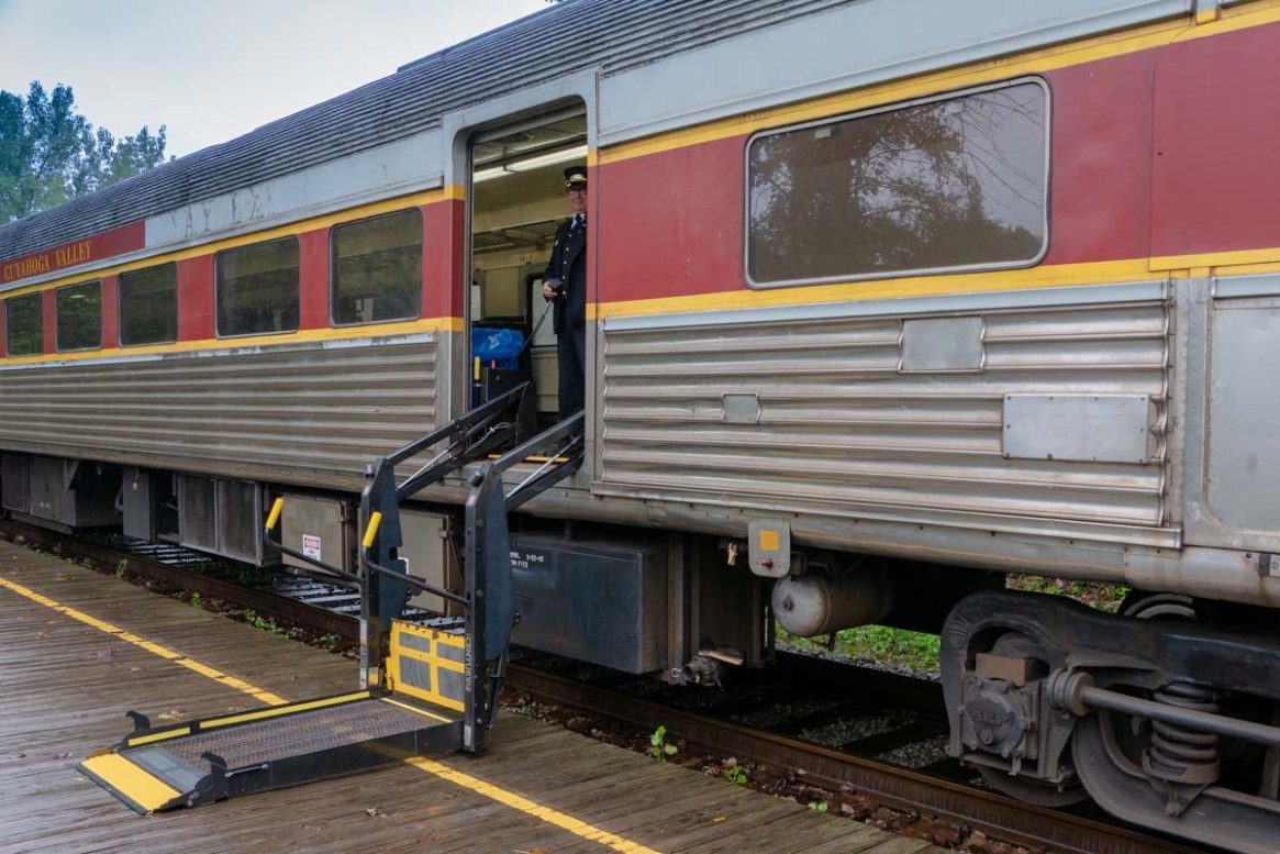 Lift boarding on the Cuyahoga Valley Scenic Railroad