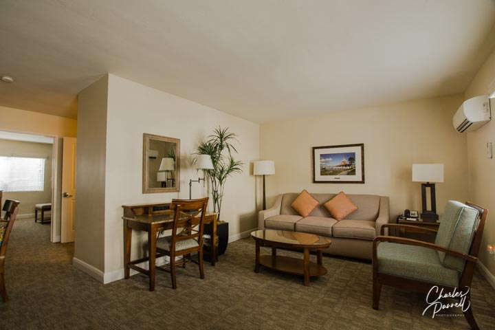 This historic inn is located on Coronado Island, just a few miles from the beach. The wheelchair-accessible suite features a separate living area, a bedroom with a king-sized bed and a bathroom with a roll-in shower. Plus it has a full kitchen with plates and utensils if you want to whip up a romantic dinner. A Touch of Class on Coronado Island