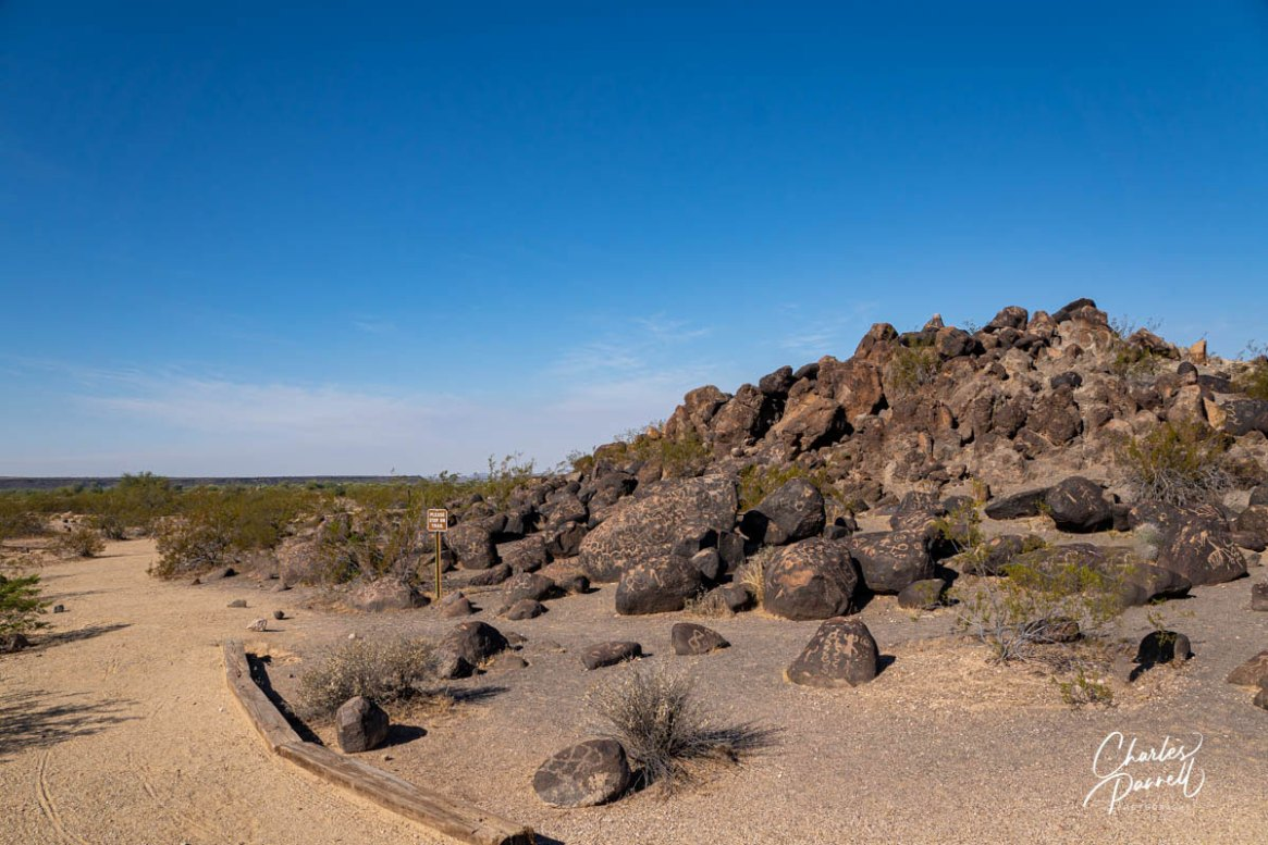 wheelchair-accessible petroglyphs; photo showing the trail the circles the large mound of boulders