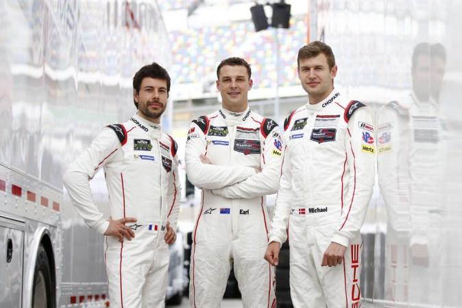 Porsche North America Frederic Makowiecki, Earl Bamber, Michael Christensen (l-r)