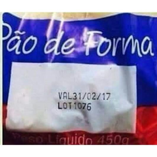 pão de forma com data de validade 31/02/2017