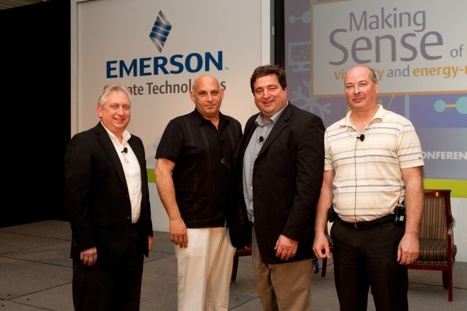 John Wallace (far left) of Emerson Climate Technologies with retail customers (L to R): Frank Vadino of Cold Technology, Steve Mitchell of King Kullen and Kevin St. Phillips of Price Chopper.
