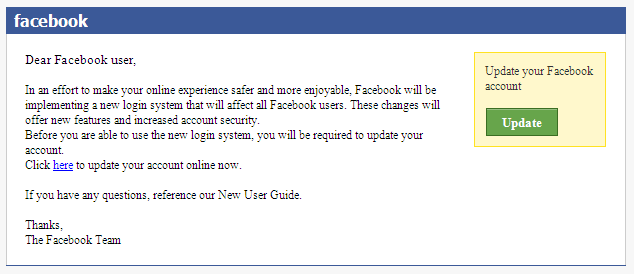 Facebook Phishing email sample