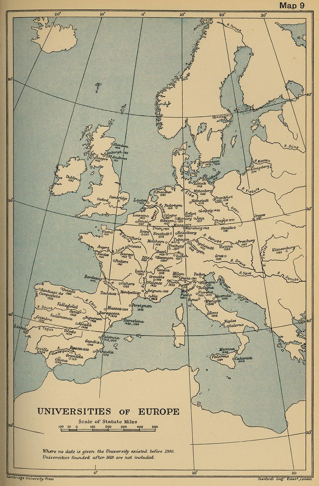 Map Of The Universities Of Europe Until