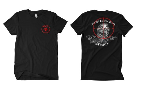 Emerson Zombie Eradication Team T Shirt in Black with Red