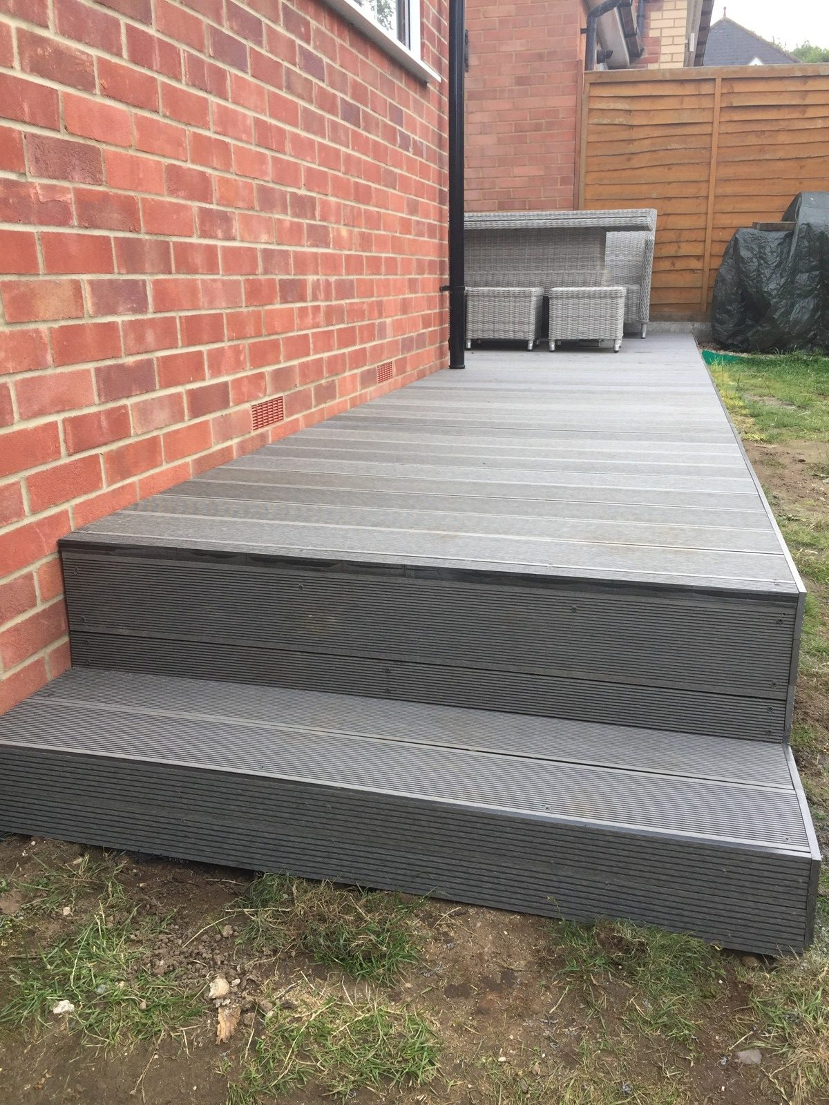 composite decking with pathway and