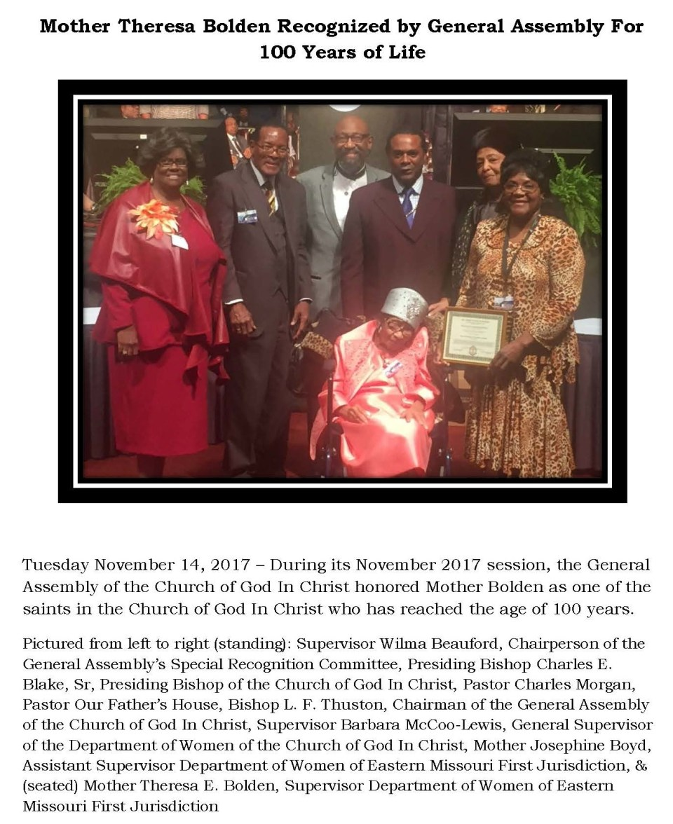 Mother Theresa Bolden Recognized by General Assembly For 100 Years of Life