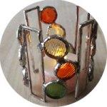 円柱風ステンドグラスキャンドルホルダー
