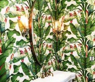 York Wallcoverings AT7067 Tropics Banana Leaf Wallpaper, White, Light Yellow/Green To Dark Green, Brown