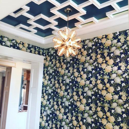 York Wallcoverings WL8660 Williamsburg II Lightfoot Garden Wallpaper, Deep Blue/White/Greens/Tan/Light Blue