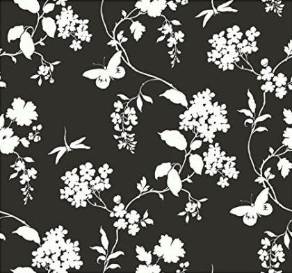 York Wallcoverings AP7431SMP Silhouettes Trailing Floral and Vines Wallpaper Memo Sample, 8-Inch x 10-Inch