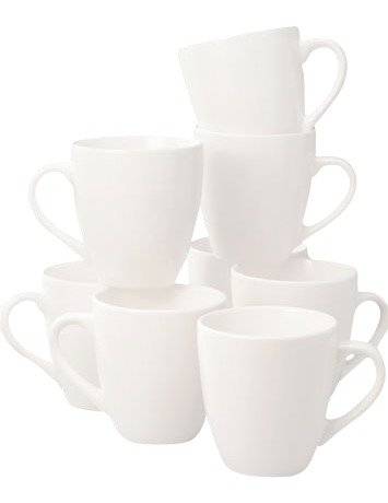Thomson Pottery Basic White 8 Piece Dinner Mugs