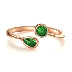 Stackable Rings, Wrap CZ Stackable Cubic Zirconia May Simulated Emerald Ring Rose Gold Plated Sterling Silver Open Ring