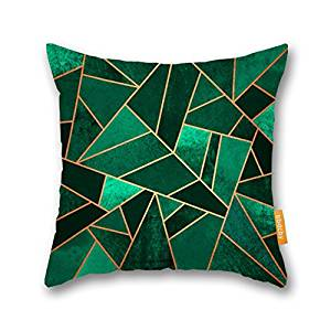 Bbdcby Abstract Art Throw Pillow Cover Emerald and Copper Lines