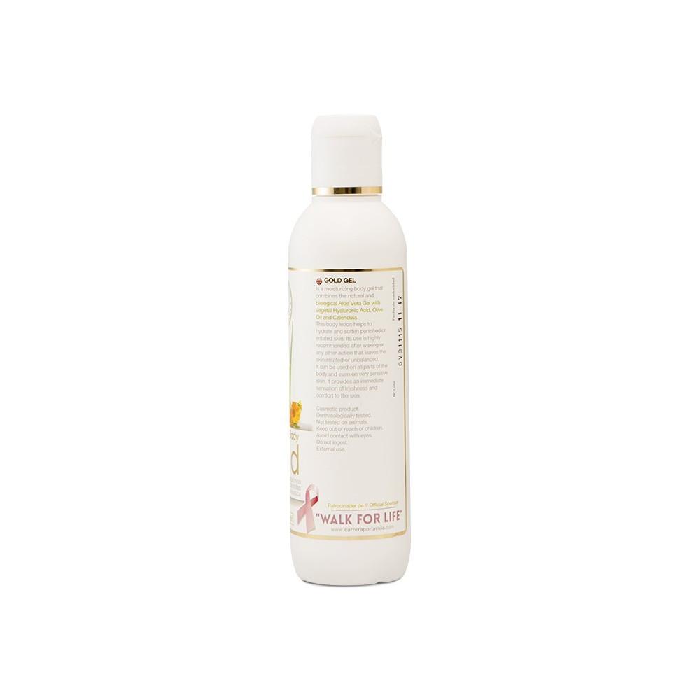 Aloe Vera body gel kopen met 30 procent Aloe Vera uit de Canarische Eilanden - achterkant fles - Aloeveracremes webshop - Emigreren Gran Canaria