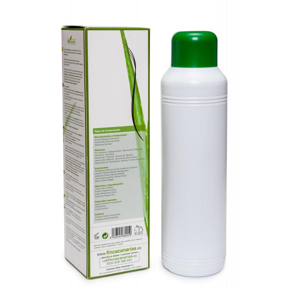 1 liter Pure Aloe Vera gel met 99 procent Aloe Vera achterkant fles in de Aloe Vera crèmes webshop gemaakt van Aloe Vera uit de Canarische Eilanden