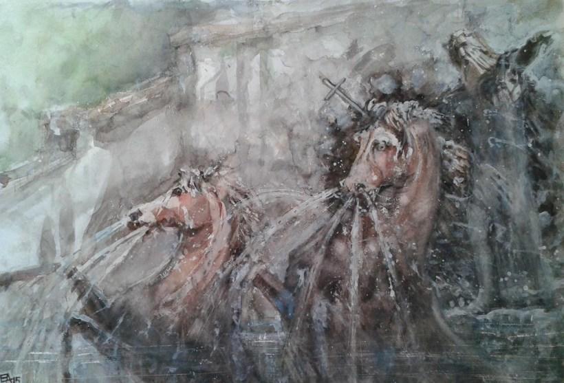 Les chevaux de la Cascade de Neptun-dim. 70x48 cm