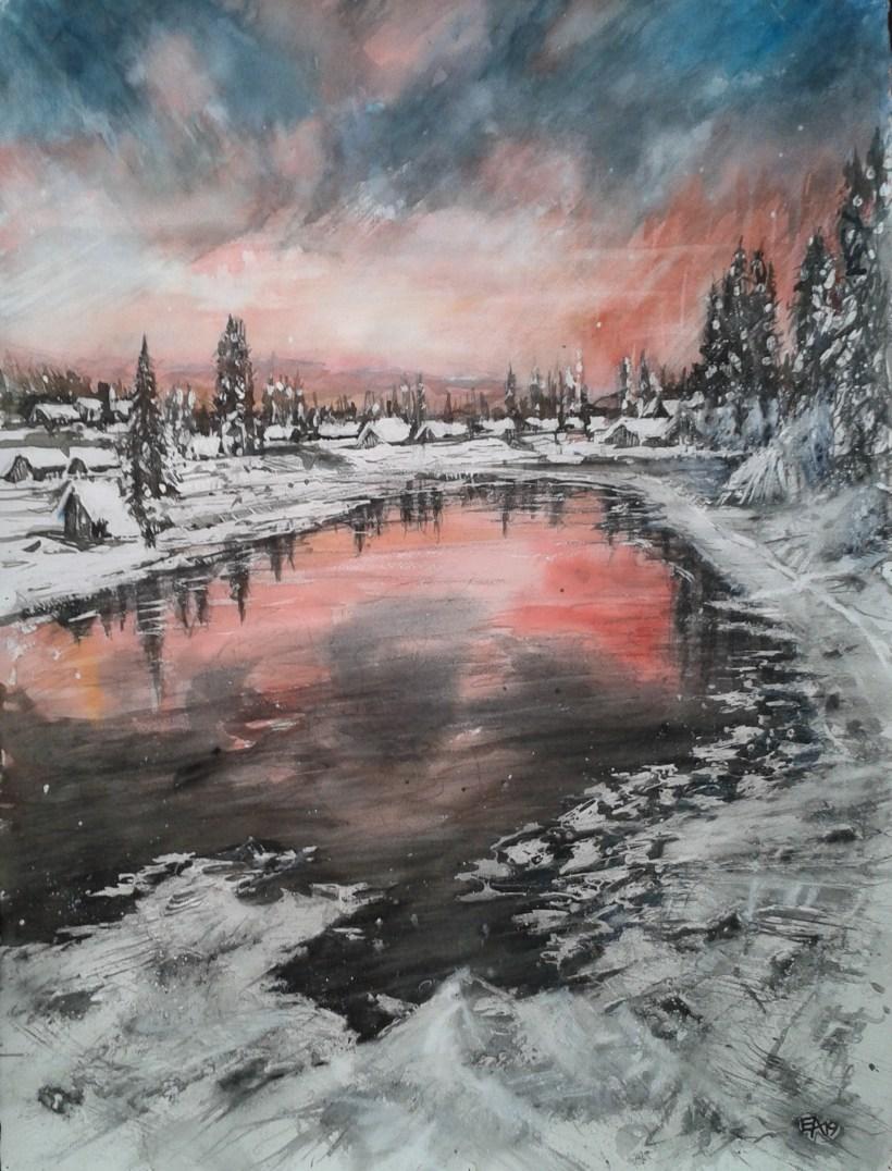 Un soir d' hiver autour du lac- dim. 54x74cm
