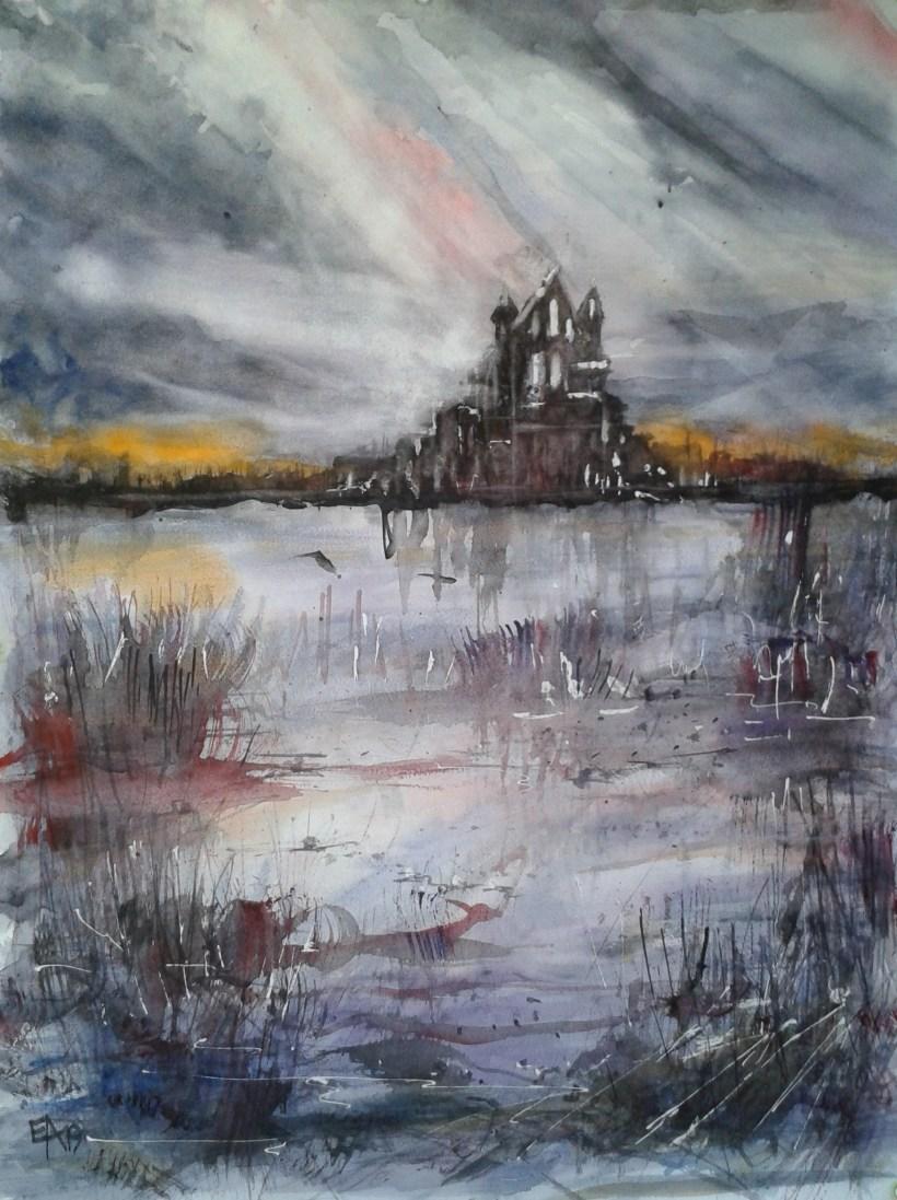 Le château et le lac- Ecosse- dim. 47x62cm
