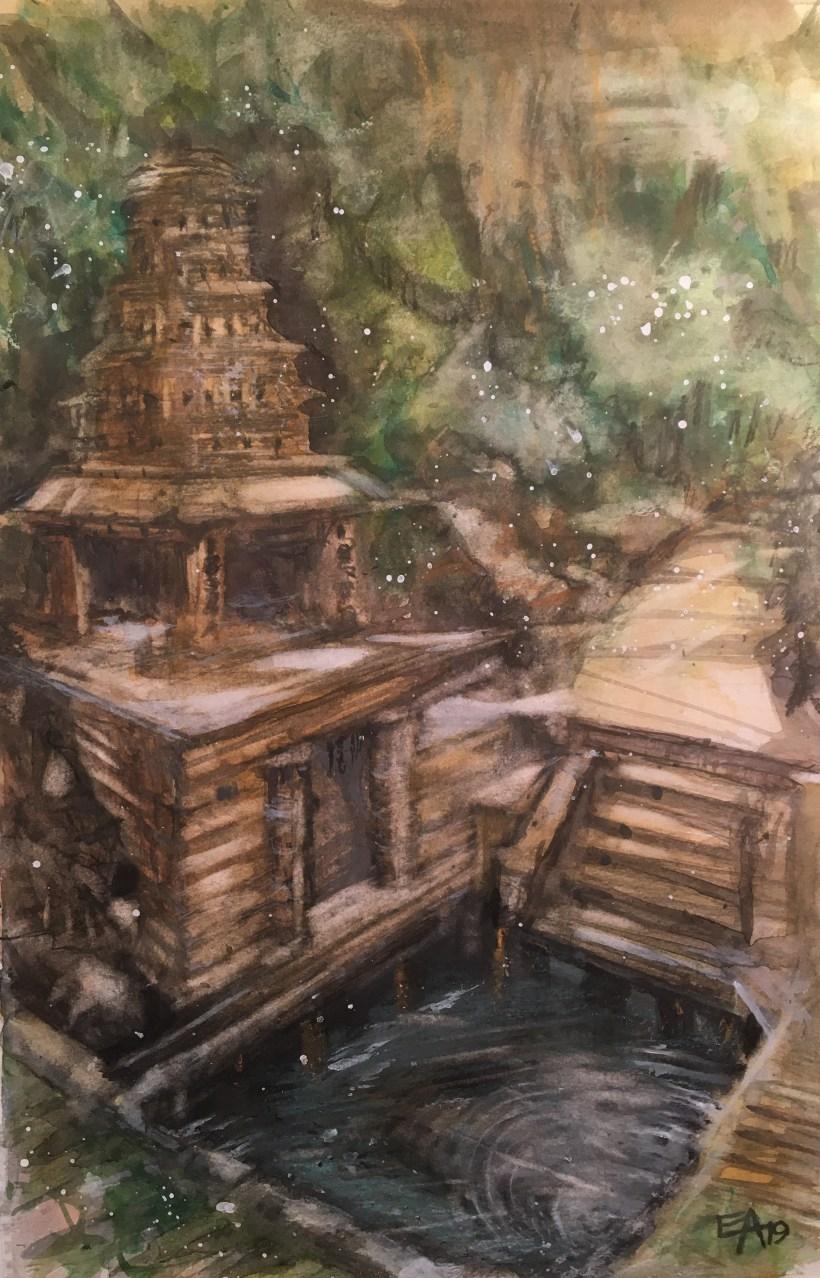 Temple dans la jungle- dim. 30x47cm