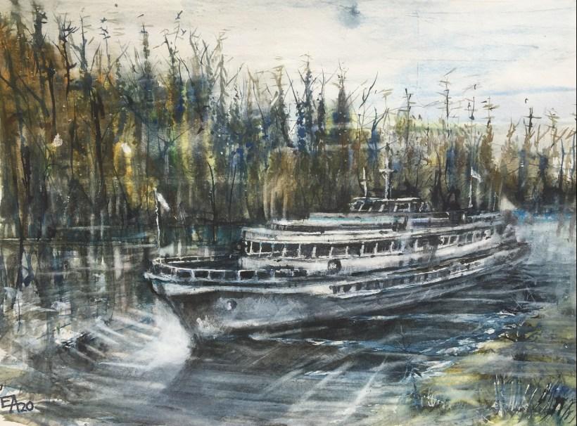 Croisière dans l'archipel de Valaam-dim. 46x34cm