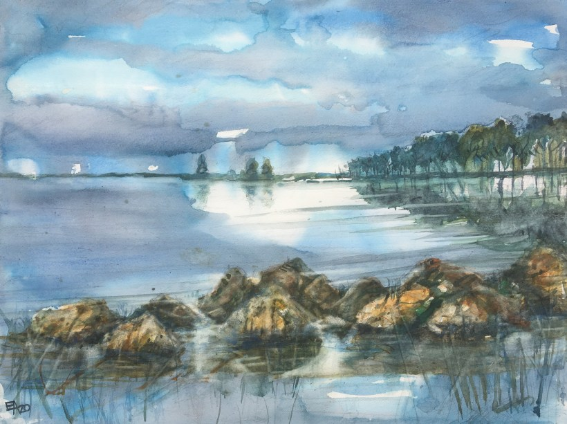 Les rochers de la lagune-dim. 62x47cm