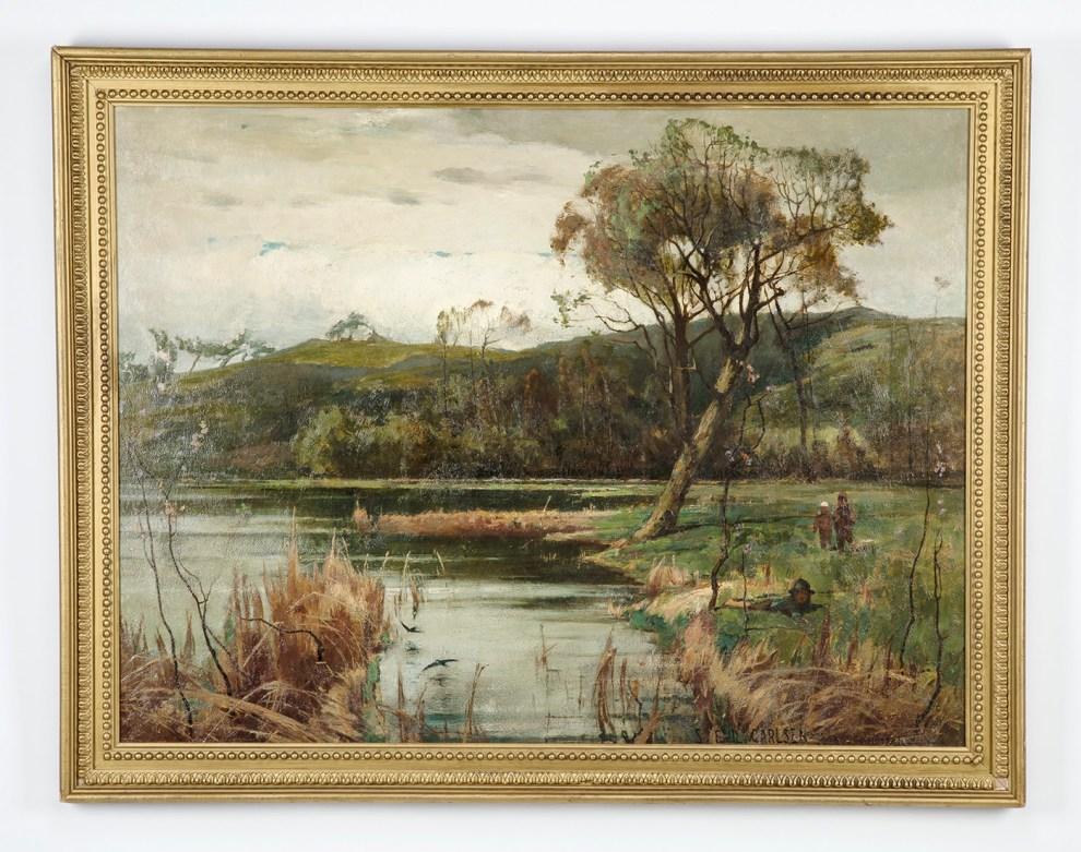 Emil Carlsen : Pastoral lake with figures, 1881.