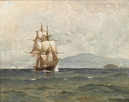 Emil Carlsen Tall Ships Passing Island, 1881