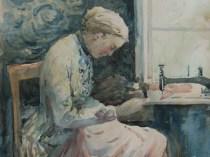 Emil Carlsen : Woman sewing, ca.1883.