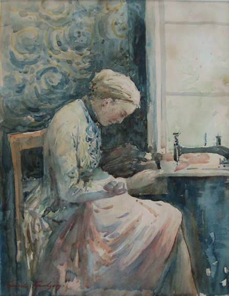 Emil Carlsen : Woman sewing, ca.1883.