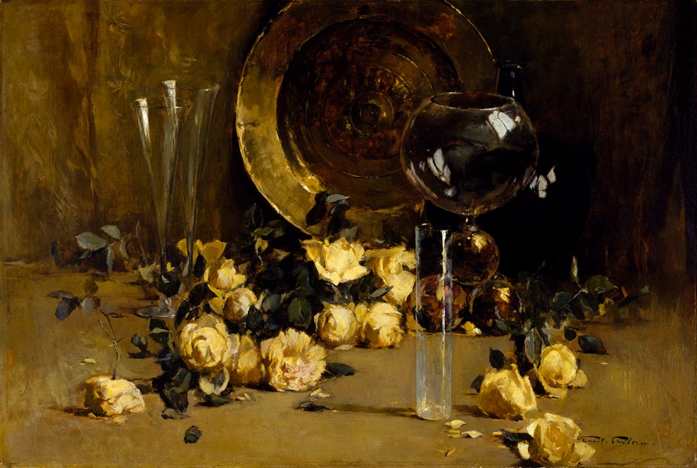 Emil Carlsen : Still life with yellow roses, ca.1883.