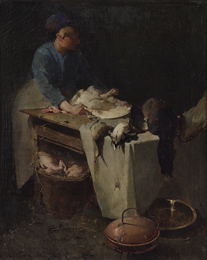 Emil Carlsen : The kitchen maid, ca.1884.