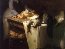 Emil Carlsen : A girl preparing poultry, 1885.