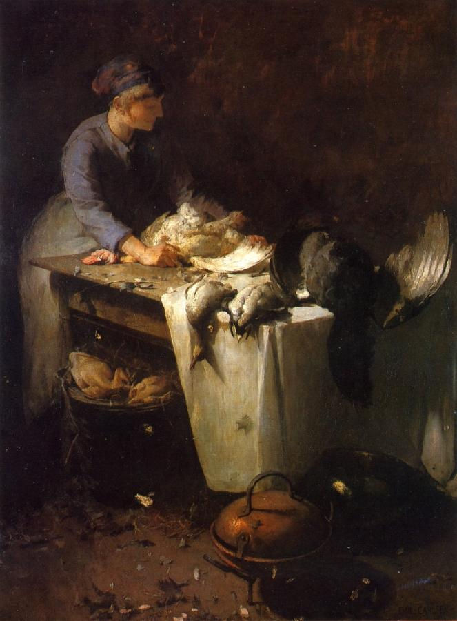 Emil Carlsen A Girl Preparing Poultry (also called A Young Girl Preparing Poultry & Femme Plumant Des Volailles), 1884/1885