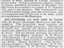 "Chicago Tribune, Chicago, IL, ""The art world"", Tuesday, October 26, 1886, page 10, not illustrated."