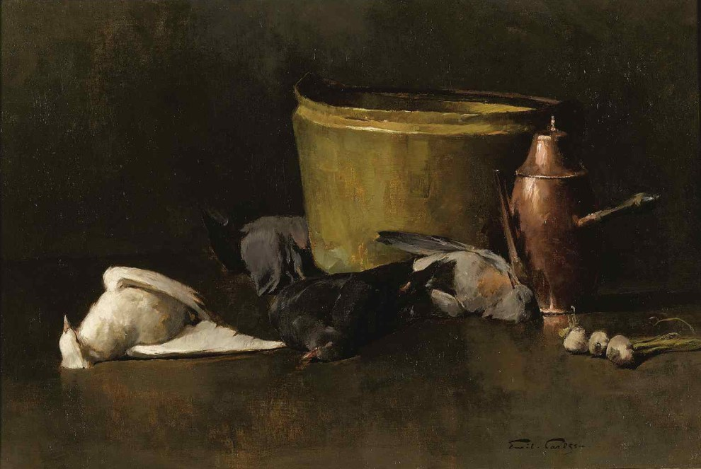 Emil Carlsen : Still life—brass bowl, copper coffee pot and pigeons, ca.1894.