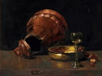 Emil Carlsen Still life with Copper Utensils and Wine Glass on a Table, c.1894