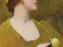 Emil Carlsen : Woman with yellow rose, 1896.