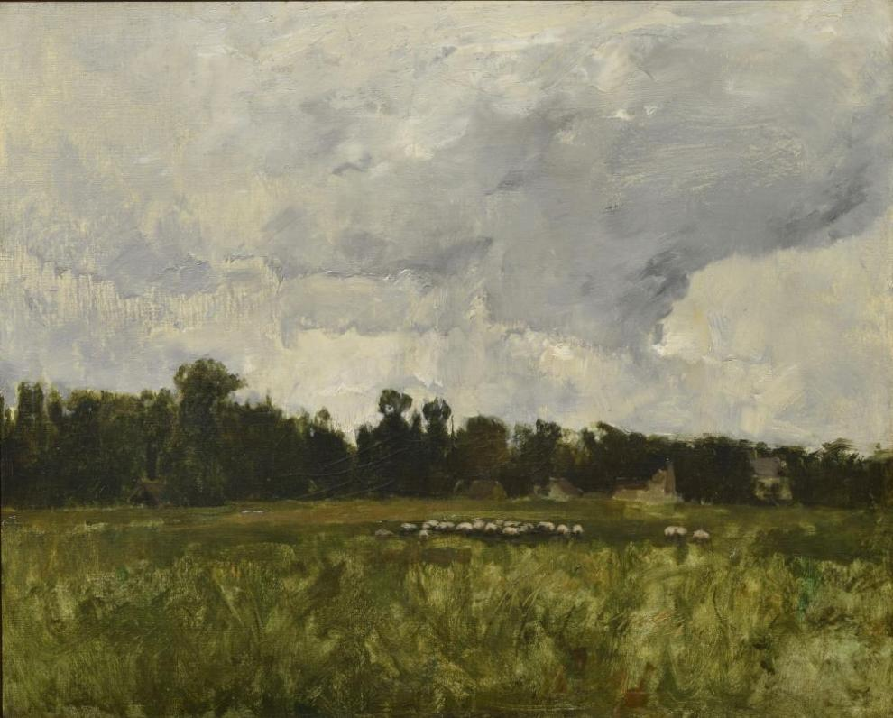 Emil Carlsen : Landscape with sheep, ca.1900.