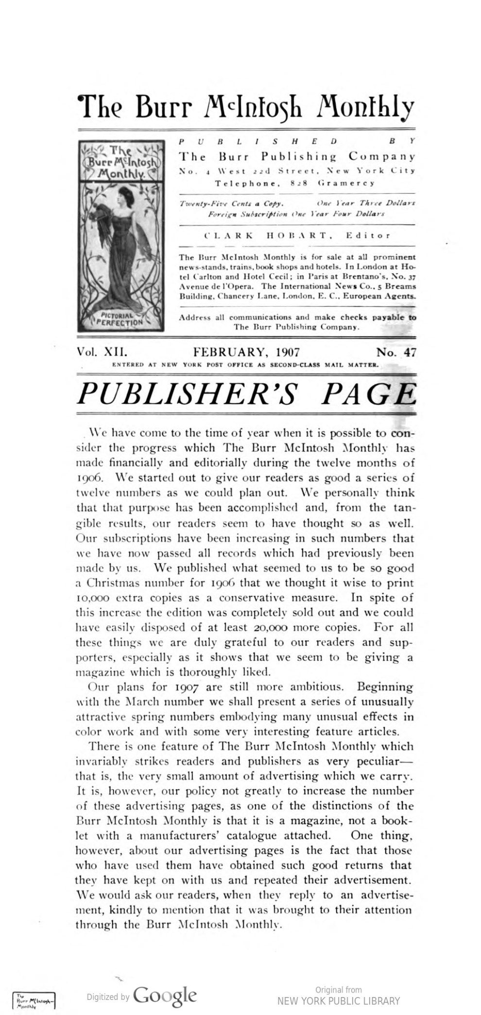 "The Burr McIntosh Monthly, New York, NY, ""The Winter Exhibition of the National Academy of Design"" edited by Clark Hobart, February, 1907, Volume 12, No. 47, not illustrated."