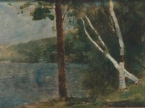 Emil Carlsen : Trees by the lake, ca.1910.