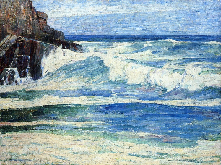 Emil Carlsen Surf breaking on rocks, ca.1912.
